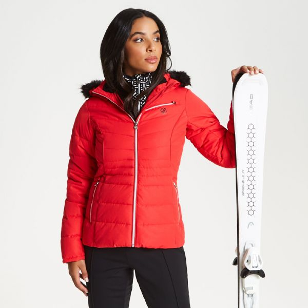 Women's Glamorize Faux Fur Trim Luxe Ski Jacket Lollipop Red